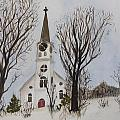 St. Pauls Church In Barton Vt In Winter by Donna Walsh
