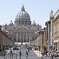 St Peter Basilica Viewed From Via Della Conciliazione. Rome by Bernard Jaubert