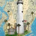 St Simons Lighthouse Ga Nautical Chart Map Art Cathy Peek by Cathy Peek