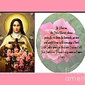 St. Theresa Prayer With Pink Border by Barbara Griffin