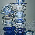 Stack Of Blue Teacups  by Nancy Patterson