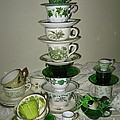 Stack Of Green Teacups  by Nancy Patterson