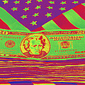 Stack Of Money On American Flag Pop Art by Keith Webber Jr