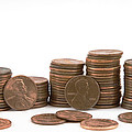Stacks Of American Pennies White Background by Keith Webber Jr