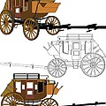 Stagecoach Without Horses - Color Sketch Drawing by Nenad Cerovic