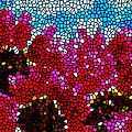 Stained Glass Red Sunflowers by Jeelan Clark