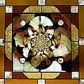 Stained Glass Template Sepia Flora Kalidescope by Ellen Cannon