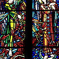 Stained Glass Window At Mont  Le Saint-michel by Aidan Moran
