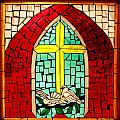 Stained Glass Window At Santuario De Chimayo by Alan Vance Ley