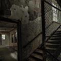 Stairs And Corridor Inside An Abandoned Asylum by Gary Heller