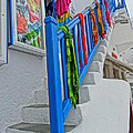 Stairs With Blue Railing In Mykonos Greece by M Bleichner