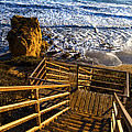 Steps To Blue Ocean And Rocky Beach by Jerry Cowart