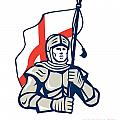 Stand Tall Proud English Happy St George Greeting Card by Aloysius Patrimonio
