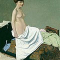 Standing Nude Holding A Gown On Her Knee by Felix Edouard Vallotton