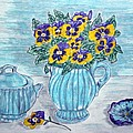 Stangl Pottery And Pansies by Kathy Marrs Chandler