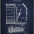 Stanton Bass Drum Patent Drawing From 1904 - Navy Blue by Aged Pixel