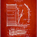 Stanton Bass Drum Patent Drawing From 1904 - Red by Aged Pixel