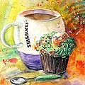 Starbucks Mug And Easter Cupcake by Miki De Goodaboom