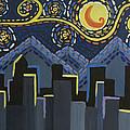 Starry Night Cityscape by Angelina Vick