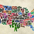 States Of United States Typographic Map - Parchment Style by Inspirowl Design