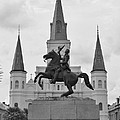 Statue Of Andrew Jackson In Black And White by Margaret Bobb