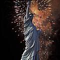 Statue Of Liberty Fireworks by Bruce Bain