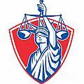 Statue Of Liberty Raising Justice Weighing Scales Retro by Aloysius Patrimonio
