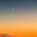 Statue Of Liberty Under A Crescent Moon by Mihai Andritoiu