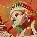 Statue Of Liberty Watercolor Portrait No 1 by Design Turnpike