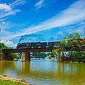 Steam Locomotive Crossing Bridge by Tracey Patterson