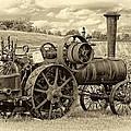 Steam Powered Tractor Sepia by Steve Harrington