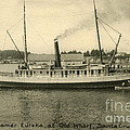 Steamer Eureka At Old Whaf Santa Cruz California Circa 1907 by California Views Archives Mr Pat Hathaway Archives