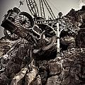 Steampunk Land Boring Machine At Disneysea Black And White by Oleksiy Maksymenko