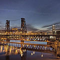 Steel Bridge Over Willamette River At Blue Hour by Jit Lim