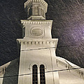 Steeple In A Snowstorm by David Stone