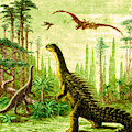 Stegosaurus And Compsognathus Dinosaurs by Science Source