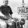 Steve Mcqueen On Motorcycle by Retro Images Archive