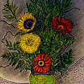 Still Life Ceramic Vase With Two Gerbera Daisy And Two Sunflowers by Jose A Gonzalez Jr