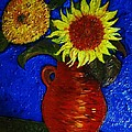 Still Life Clay Vase With Two Sunflowers by Jose A Gonzalez Jr