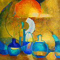 Still Life In Ocher And Blue by Magdalena Walulik