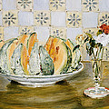 Still Life Of A Melon And A Vase Of Flowers by Pierre Auguste Renoir