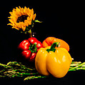 Still Life Peppers Asparagus Sunflower by Jon Woodhams