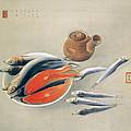 Still Life  Salmon Slices And Sardines by Tsuchida Bakusen