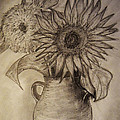 Still Life Two Sunflowers In A Clay Vase by Jose A Gonzalez Jr