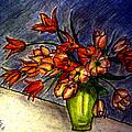 Still Life Vase With 21 Orange Tulips by Jose A Gonzalez Jr