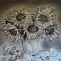 Still Life - Vase With 6 Sunflowers by Jose A Gonzalez Jr