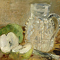 Still Life With A Cut Apple And A Pitcher by Berthe Morisot