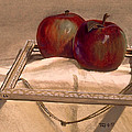 Still Life With Apples In An Old Frame by Robert Tracy