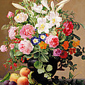 Still Life With Flowers And Fruit by V Hoier