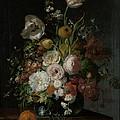 Still Life With Flowers In Glass Vase by Rachel Ruysch